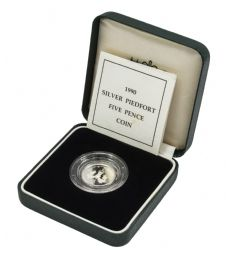 1990 Silver Proof Piedfort 5p for sale
